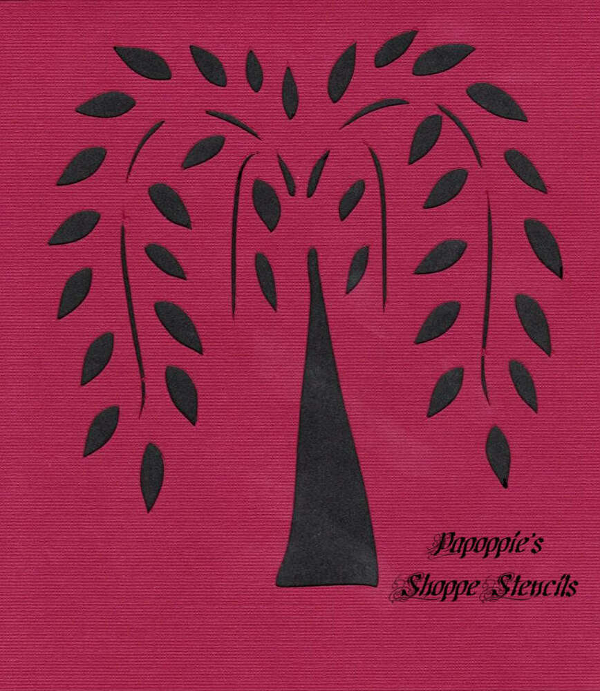 Stencil Primitive Willow Tree For Crafts Signs Projects