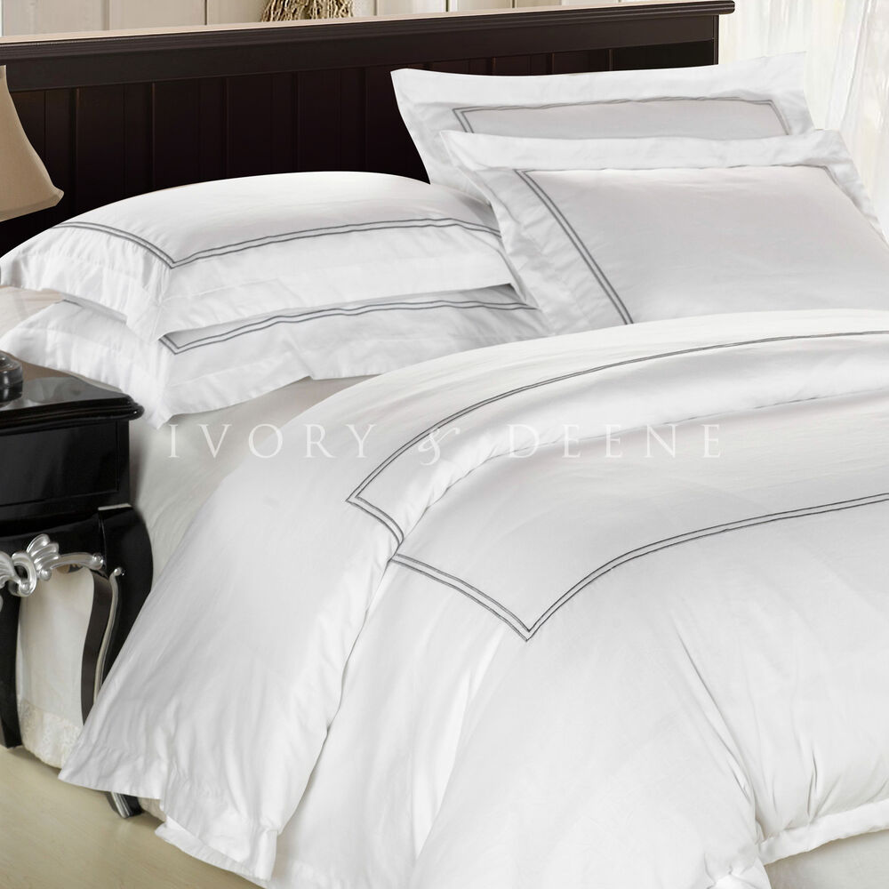 white cotton quilt cover satin trim queen size duvet doona. Black Bedroom Furniture Sets. Home Design Ideas