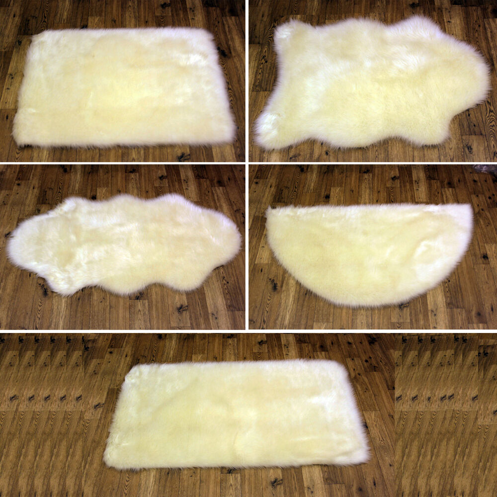 NEW PLAIN FLUFFY WASHABLE SOFT FAKE FAUX FUR NATURAL CREAM