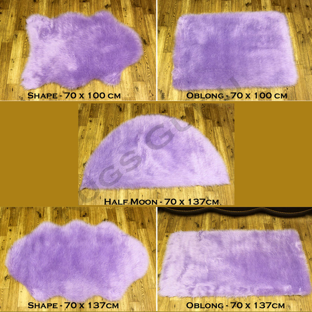 Washable Sheepskin Rugs For Dogs: HIGH QUALITY SOFT FLUFFY PLAIN WASHABLE LILAC COLOUR FAUX