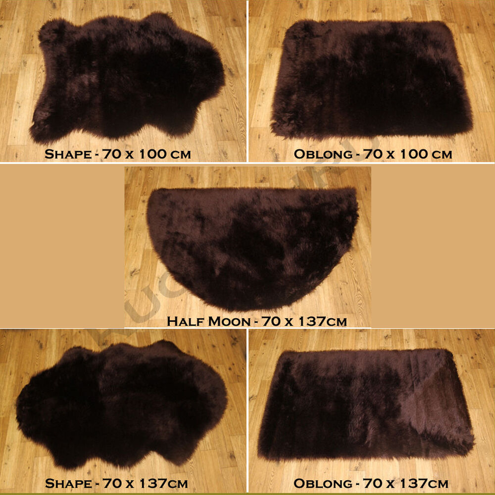 Washable Sheepskin Rugs For Dogs: SOFT FLUFFY PLAIN WASHABLE CHOCOLATE BROWN COLOUR FAKE