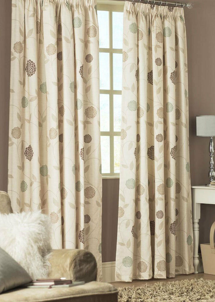 curtains rosemont natural ready made pencil pleat lined. Black Bedroom Furniture Sets. Home Design Ideas