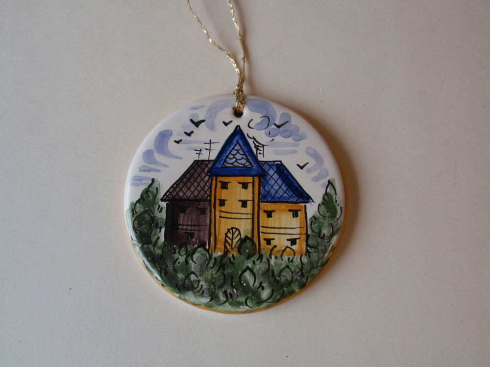 Hand painted round ceramic christmas ornament floral