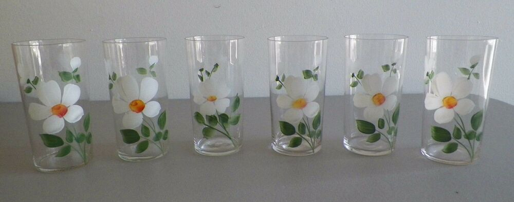 Vintage hand painted white yellow flowers drinking for Hand painted drinking glasses