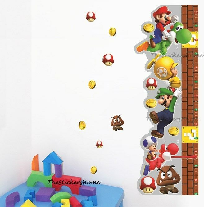 removable super mario wall stickers children height growth