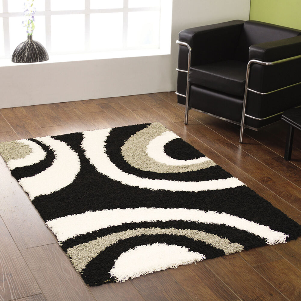 Black And White Rug Ebay Uk: EXTRA LARGE THICK 5CM PILE BLACK GREY IVORY WHITE
