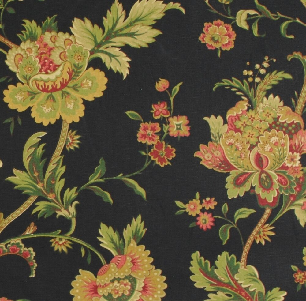 Waverly Fabric / Claremont Onyx / Black Background Floral ...