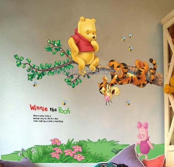 Removable winnie the pooh with tigger wall stickers nursery girls boys
