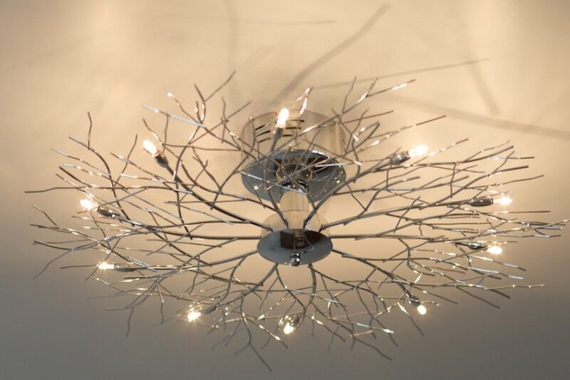 plafonnier 10 branches lampe de salon moderne lampe suspension argent e 28726 ebay. Black Bedroom Furniture Sets. Home Design Ideas