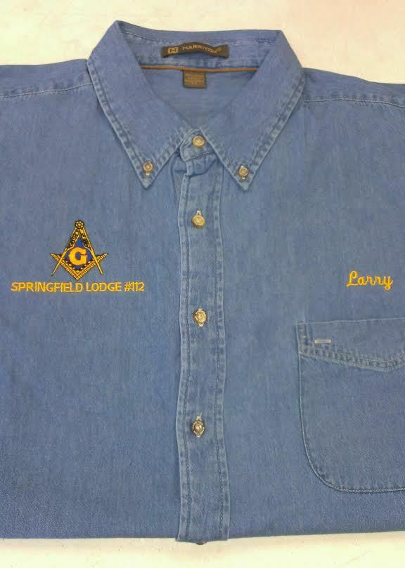 MASON MASONIC EMBROIDERED DENIM LONG SLEEVE SHIRT WITH