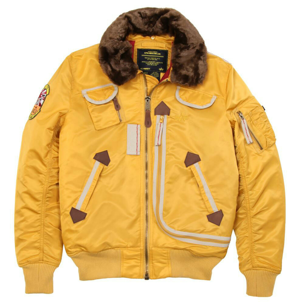 alpha industries b 15 injector bomber flight jacket yellow. Black Bedroom Furniture Sets. Home Design Ideas