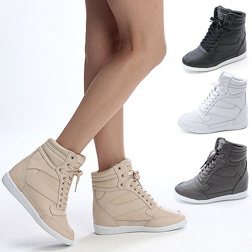 Womens High Top Sneakers Wedge Trainers Shoes