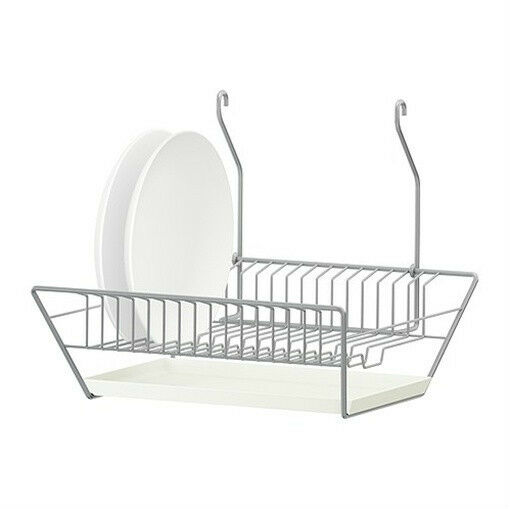 Ikea dish drainer w removable tray steel hang or stand for Kitchen drying rack ikea