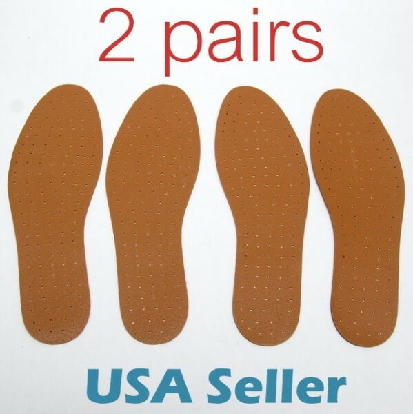 2 pairs Synthetic Leather INSOLE Shoe Insert Pads Comfort Cushioning UNISEX S012