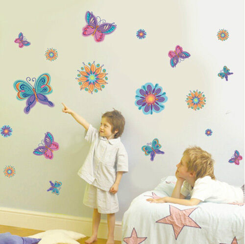 Large butterflies flowers wall stickers kids girls room for Room decor 5d stickers