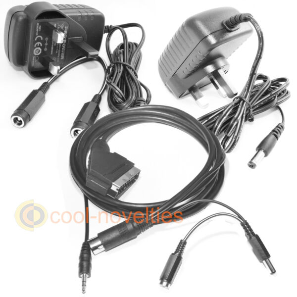 AMSTRAD CPC 6128 TV CONNECTION KIT - PSU ADAPTERS & RGB SCART CABLE