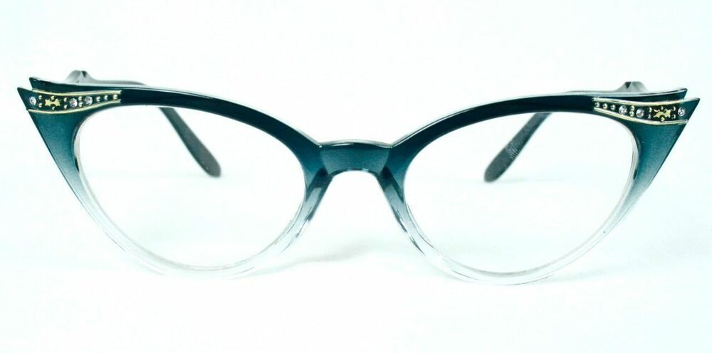50s Retro Vintage Sexy Cat Eye Clear Gradient Frame ...
