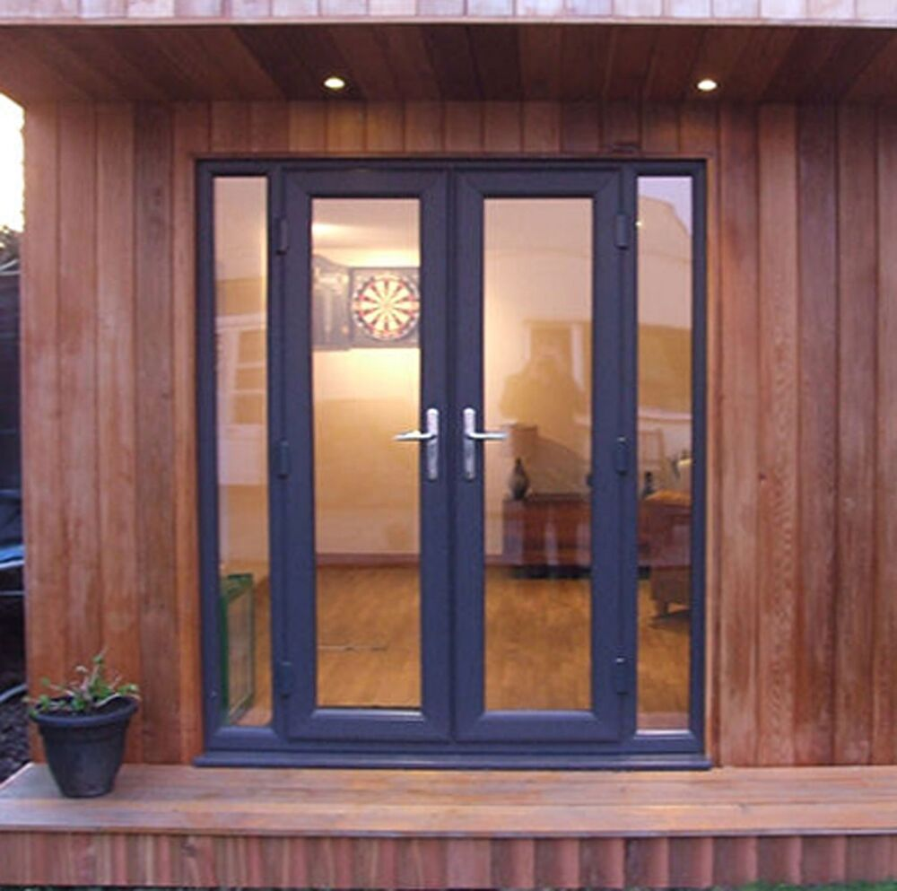 Grey woodgrain upvc french patio doors synseal synerjy for Patio doors with side panels