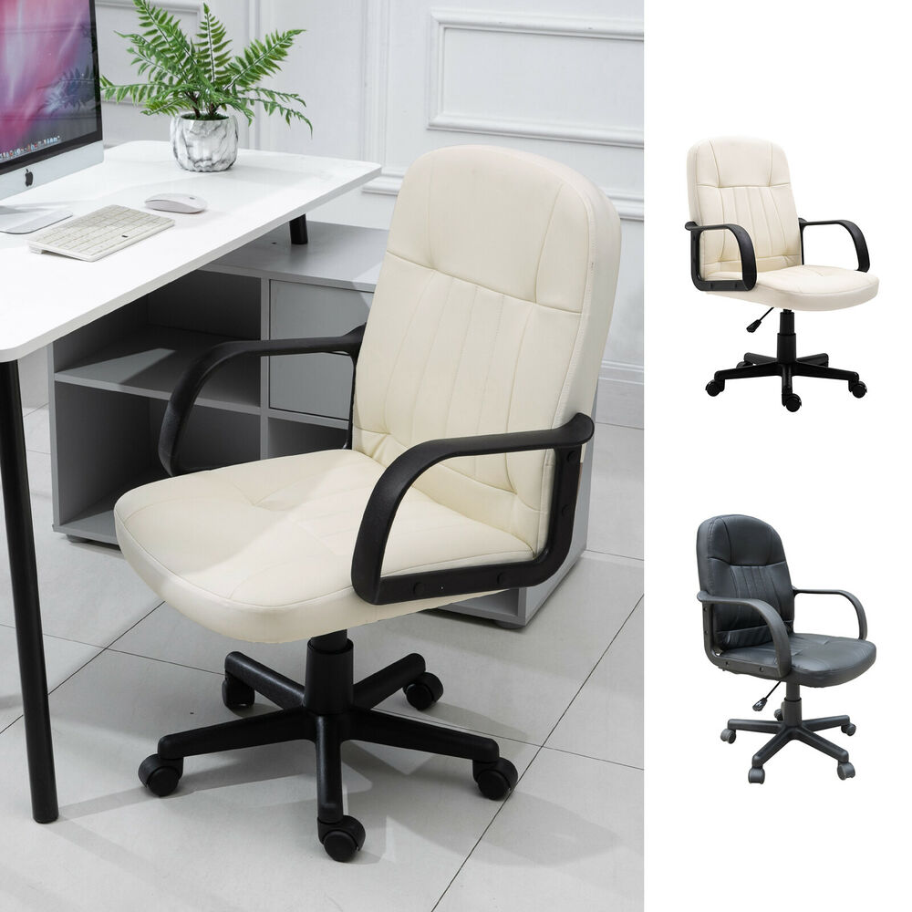 PU Leather Home Office Chair Swivel Executive PC Computer Desk Table Adjustab