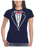 Ladies Tuxedo T Shirt With Union Jack Flag Bow Tie Hen Stag Night Fancy Dress