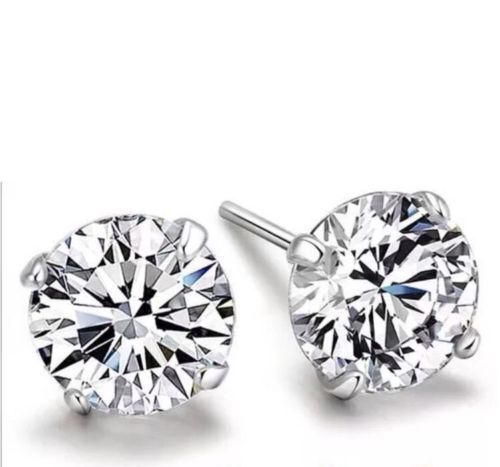 Mens Boys Silver Rhinestone Diamante 4mm Stud Earrings Ebay