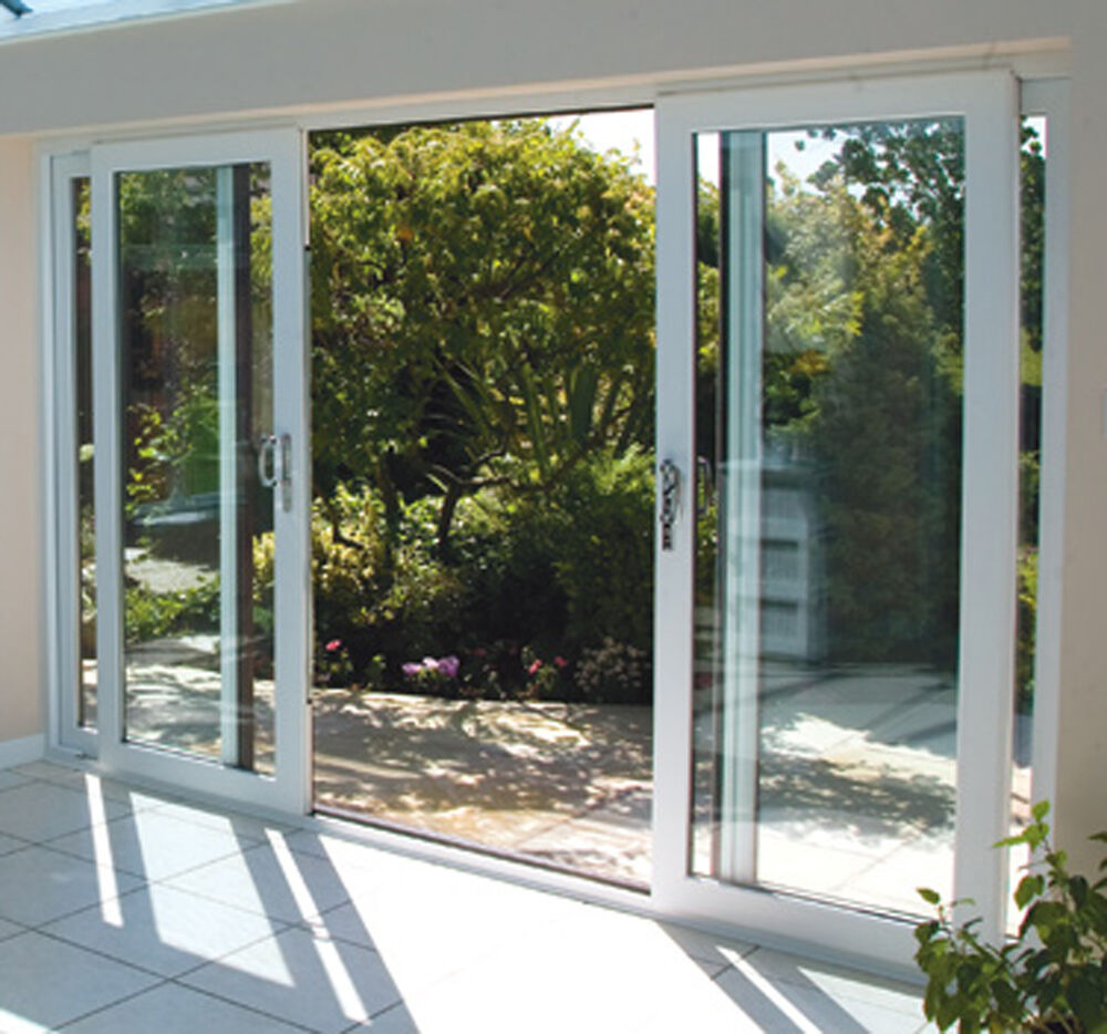 White upvc 4 pane sliding patio doors synseal 4200mm for Double sliding screen door