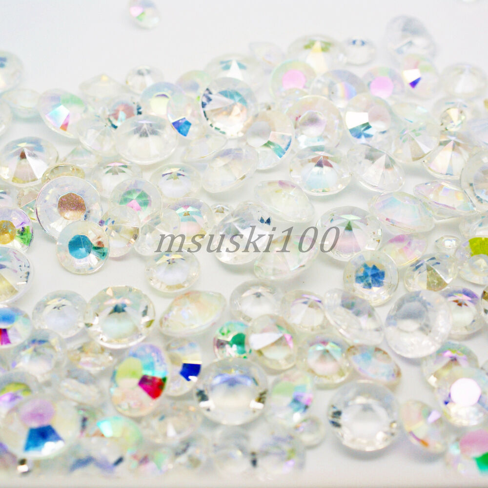 Ab iridescent wedding table scatter acrylic crystals for Acrylic decoration
