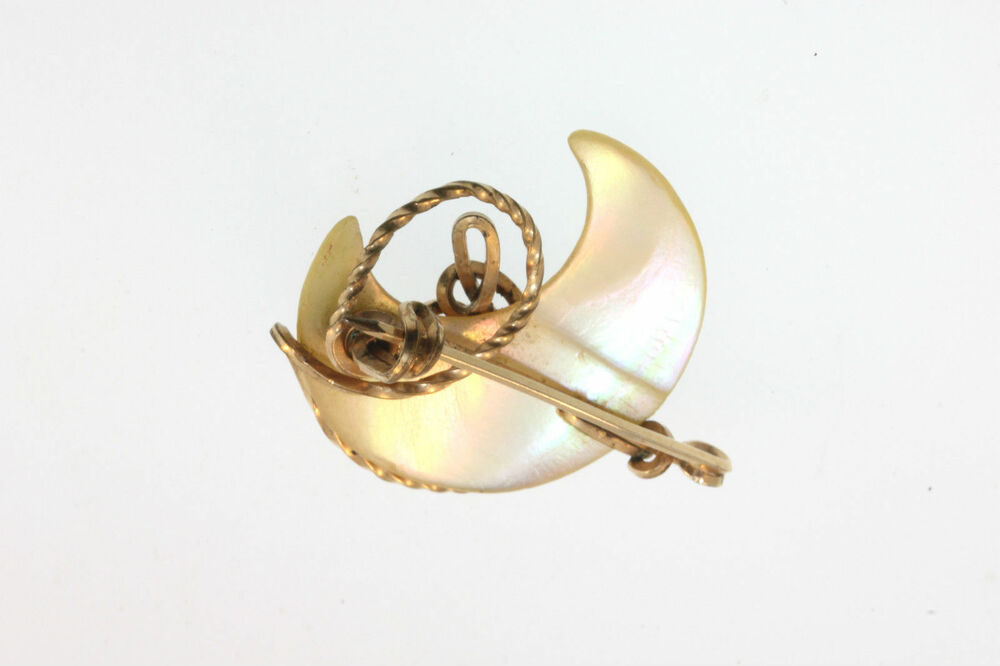 Victorian Antique Mother Of Pearl Moon Brooch C Clasp Gold