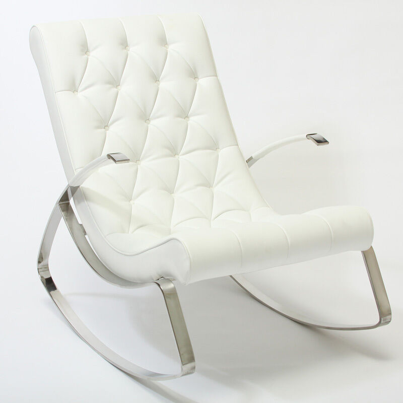Barcelona City Luxury Modern Design White Leather Rocking Lounge Chair EBay