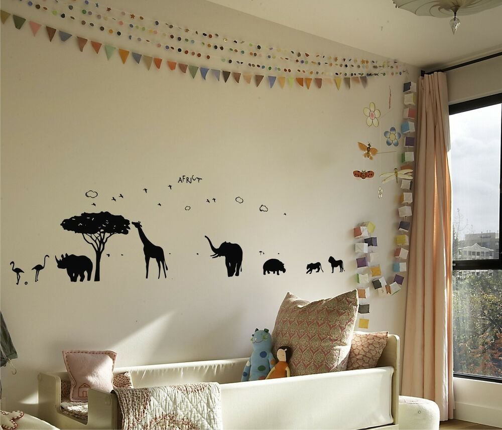 African Safari Mural Vinyl Wall Decal Ebay