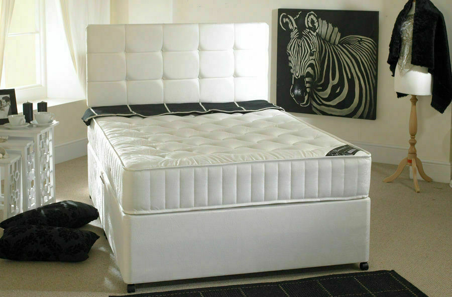 Cream memory foam divan bed mattress headboard 3ft 4ft6 for Double divan size