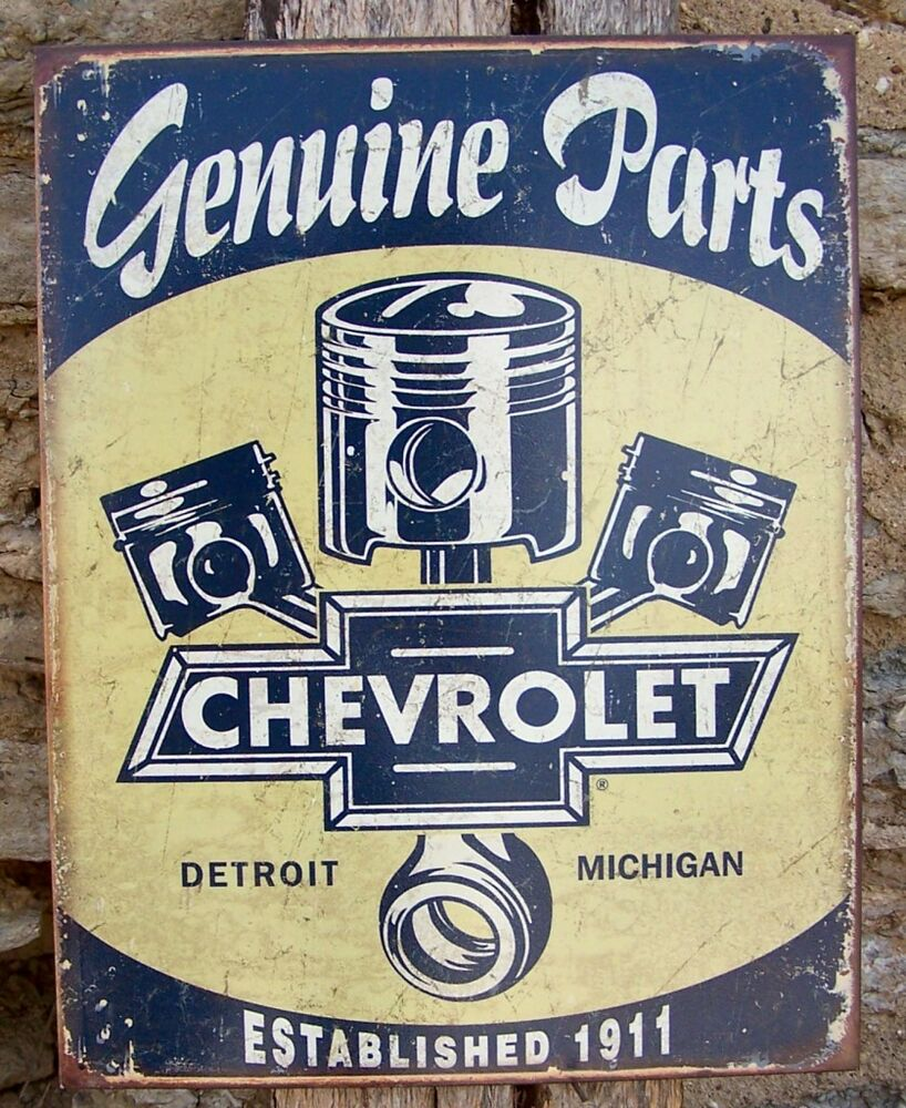 Retro sign antique style chevy parts detroit made ad home for Vintage garage signs uk