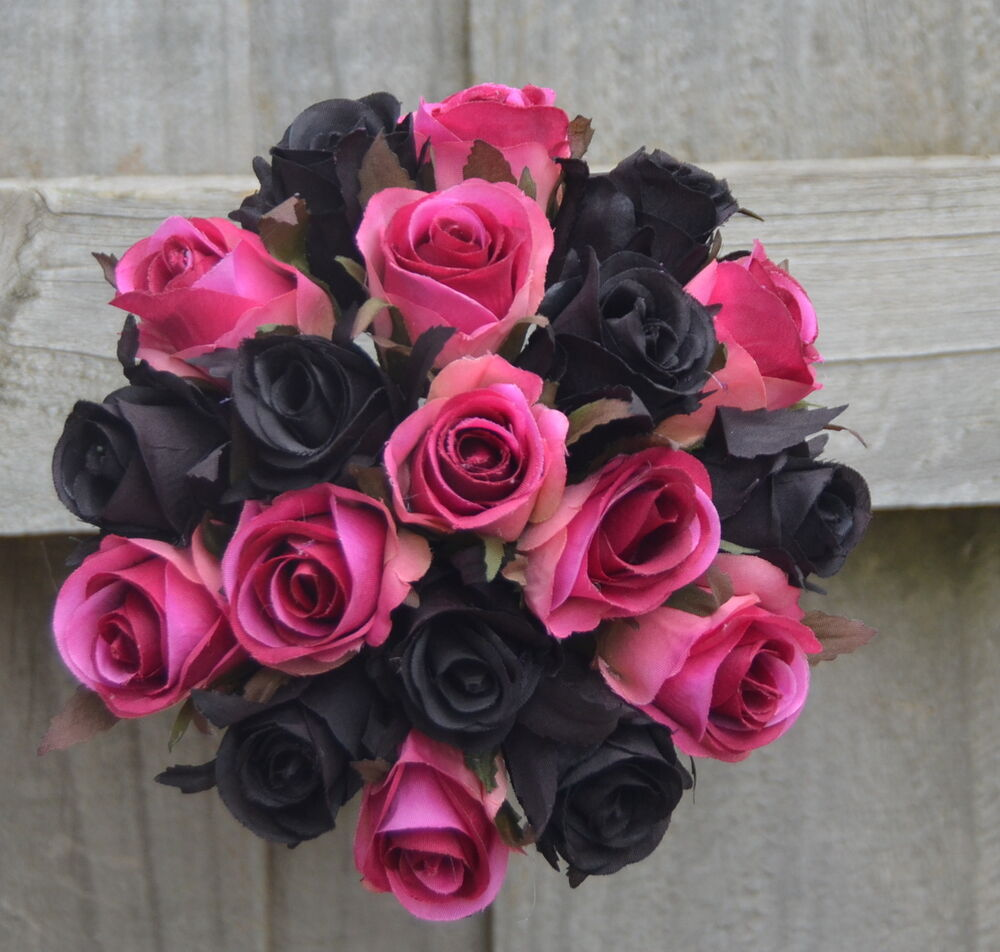 Silk wedding bouquet pink black roses pre made posy for How to make black roses