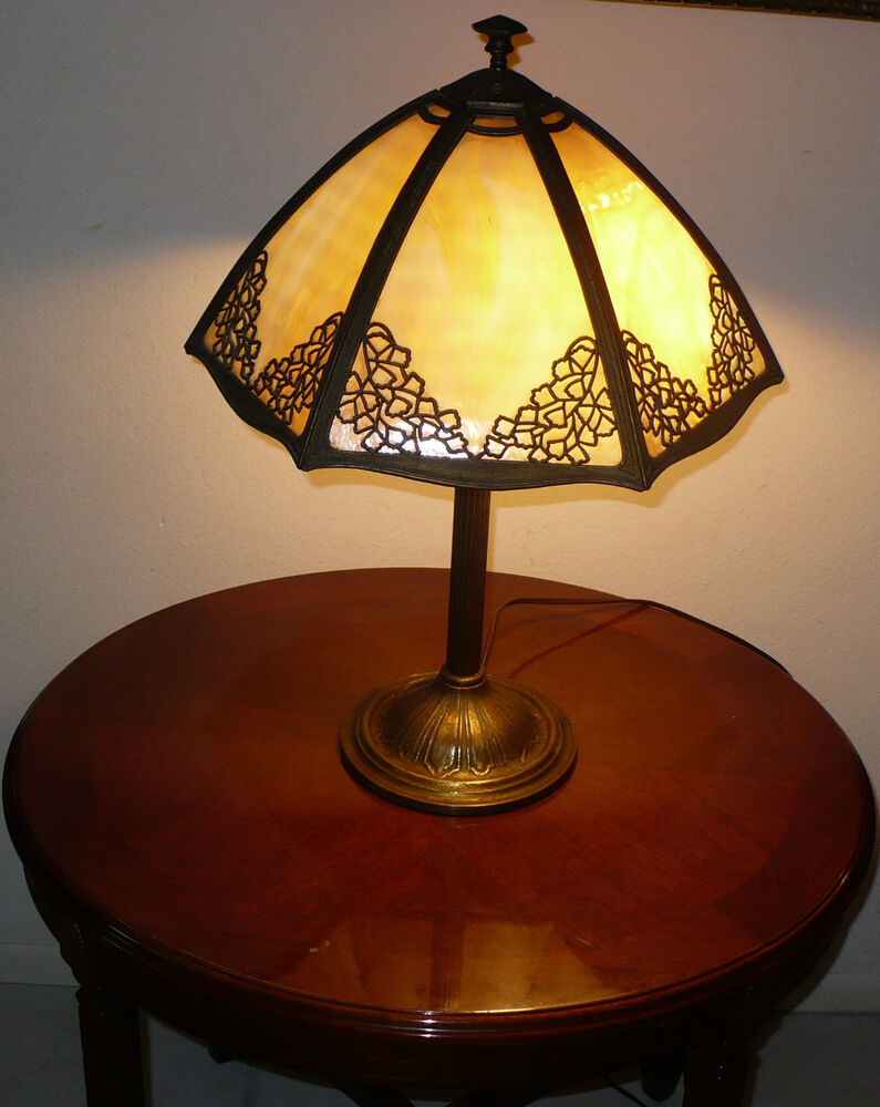Antique 1800 S Bradley Amp Hubbard Slag Glass Lamp Gorgeous