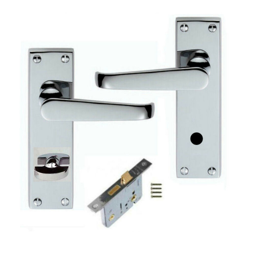 Polished Chrome Victorian Bathroom Lever Door Handles