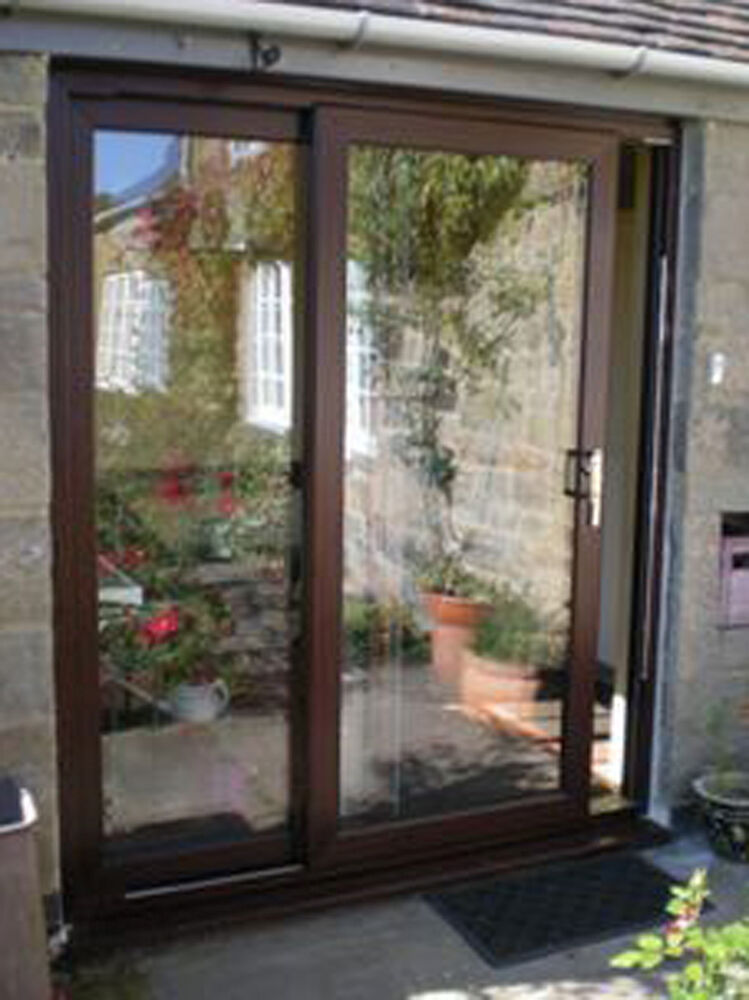 Upvc sliding patio doors mahogany brand new high quality for Brown upvc patio doors