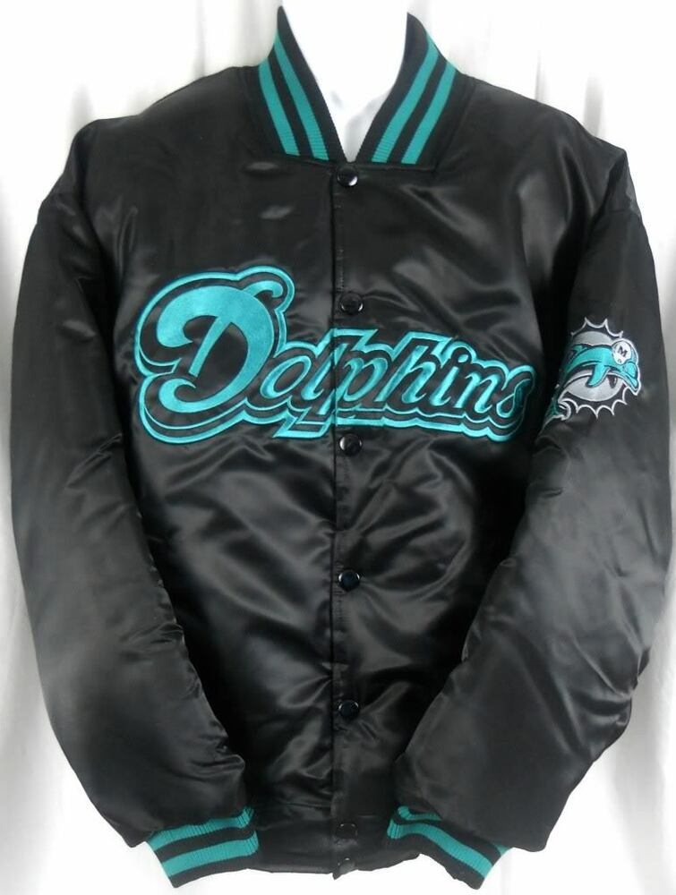 Miami Dolphins NFL Team Apparel Embroidered Black Satin Jacket Big  Tall Sizes  eBay