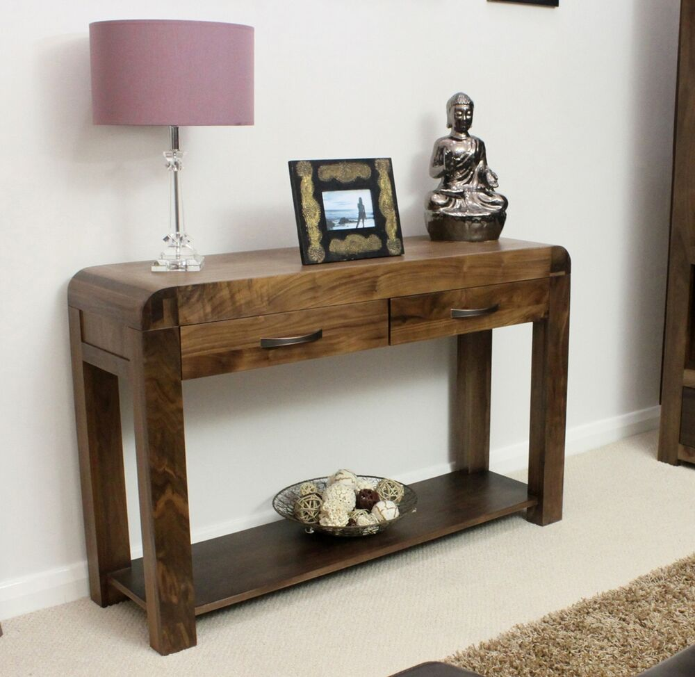Shiro solid walnut dark wood hallway furniture console for Hallway furniture ideas