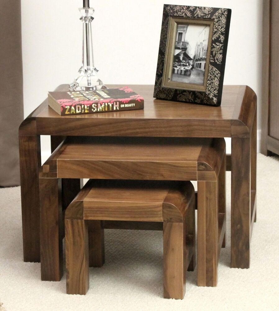 Shiro solid walnut dark wood furniture nest of three