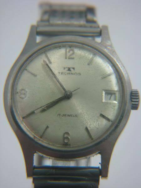 Vintage technos date mechanical mens watch swiss ebay for Technos watches