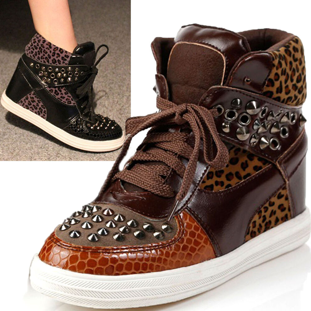 Suede Studs Studded Spike Spiked Shoes Sneakers Wedge