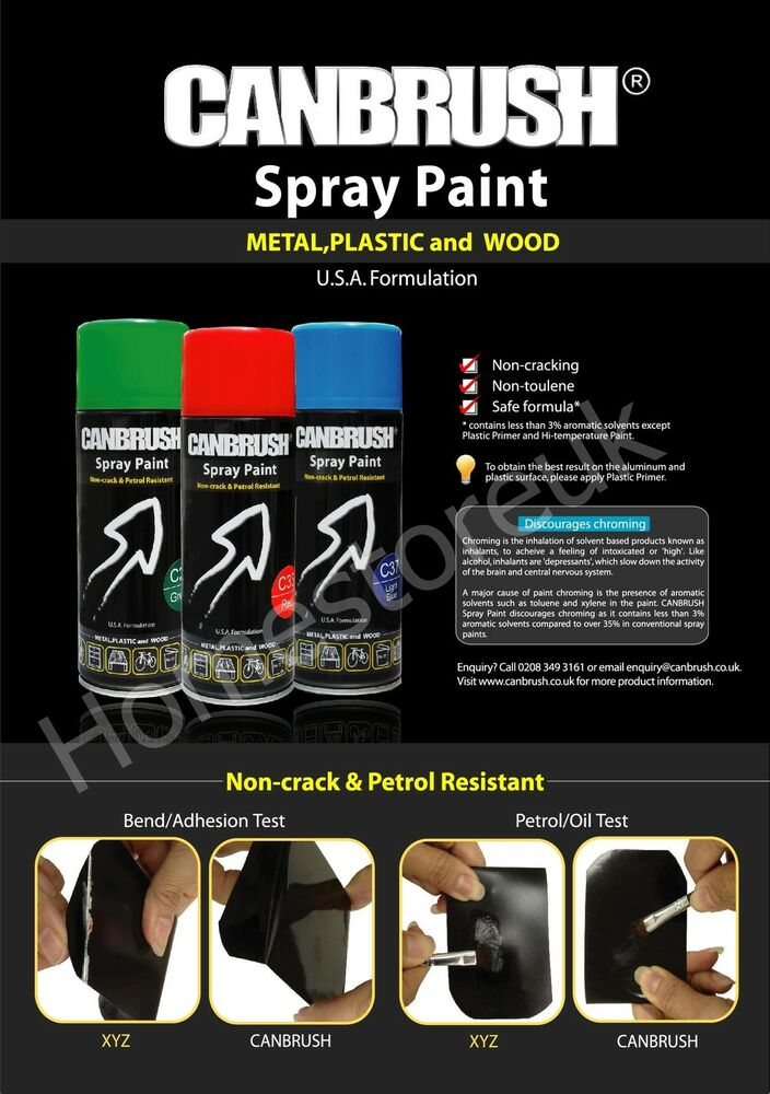 Canbrush Aerosol Spray Colour Paint Can Interior Exterior For Metal Plastic Wood Ebay