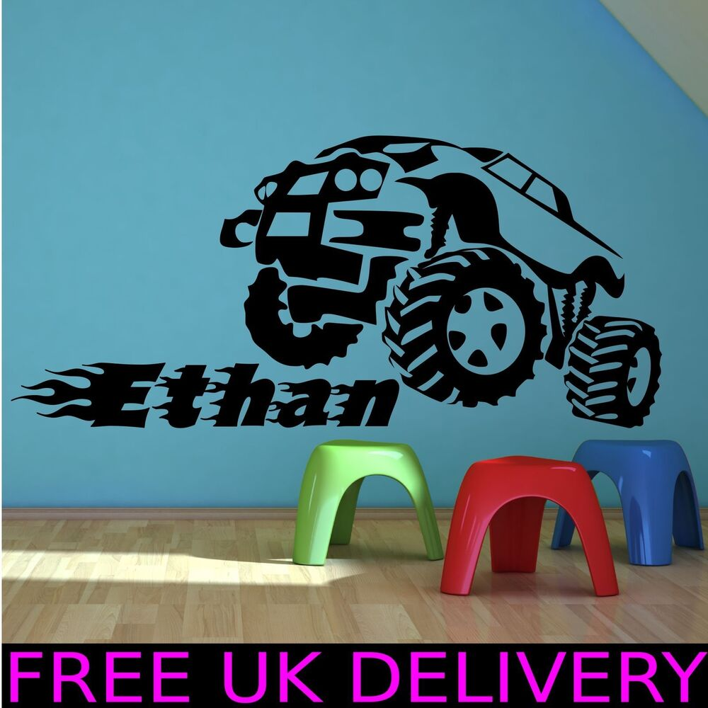 Wall Art Transfer Stickers : Personalised monster truck name bedroom wall art stickers