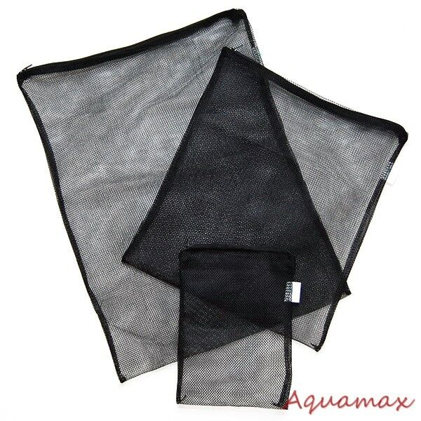 New aquarium fish pond mesh filter media bags w zipper for Fish pond filter mesh