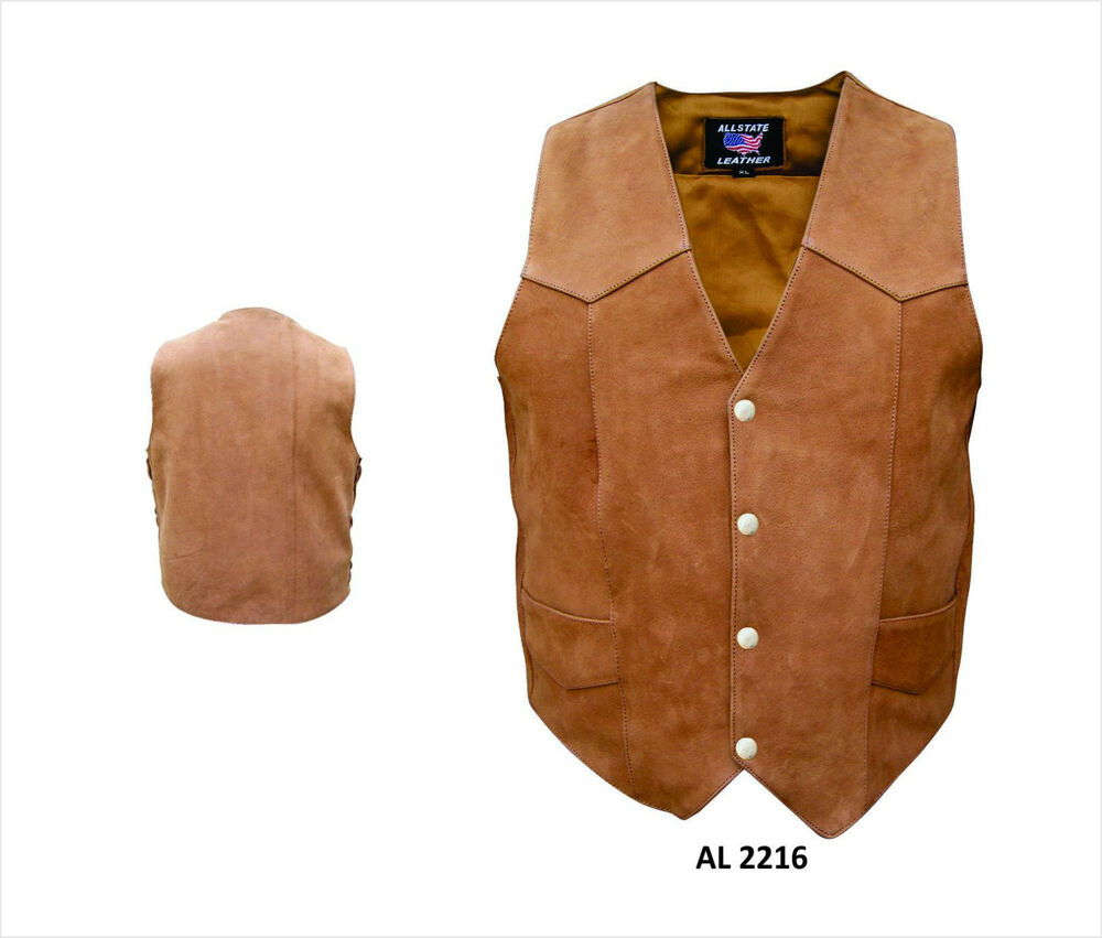 My Allstate Sign In >> Brown Leather Motorcycle Biker Vest Mens Water Buffalo 4 Snap   eBay