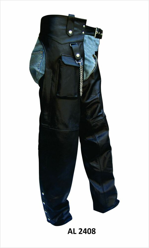 Mens Or Unisex Black Leather Lined Motorcycle Chaps With