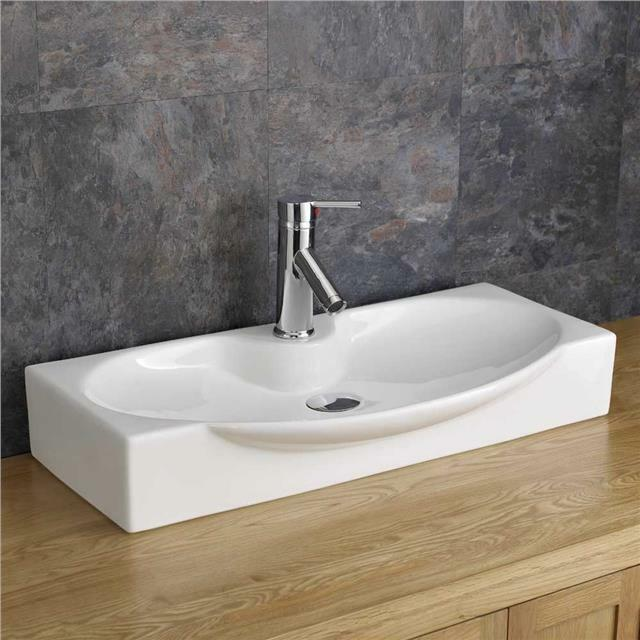 contemporary bathroom basins countertop 69cm x 34cm shallow bathroom sink white ceramic 12429