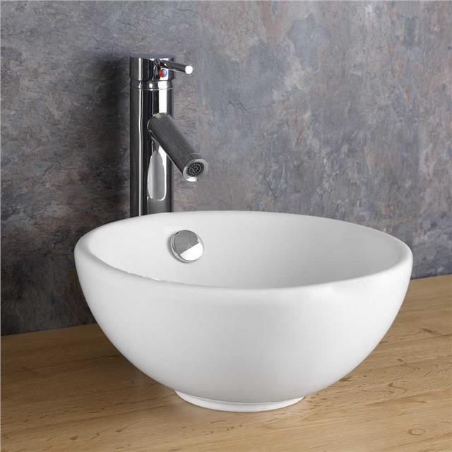 Counter Mounted Sink : Round Sink 31.5cm Circular Basin Counter Top Countertop White Mounted ...