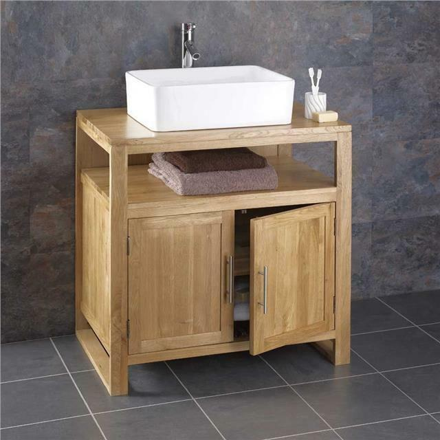 75cm Wide Cube Solid Oak Freestanding Bathroom Washstand