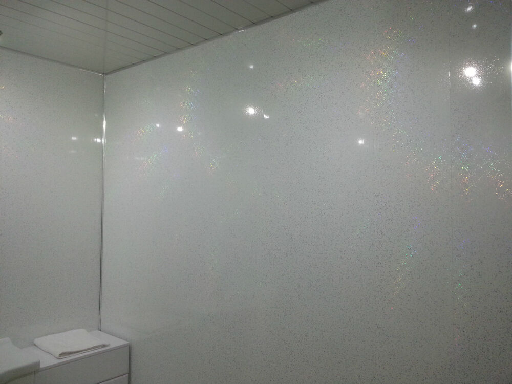 7 white sparkle bathroom wall panels upvc wet wall for Bathroom t g cladding